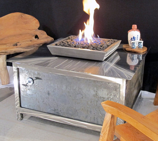 IMPACT Fire Table, stainless steel, hand brushed, powder coated clear, square, best firepit or fire pit, burn natural gas or propane, salvaged raw steel side panel option, made in USA