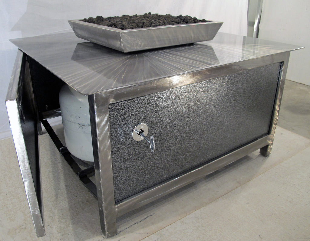 ... The Open Access Door Of An IMPACT Fire Table, Stainless Steel, Hand  Brushed, ...