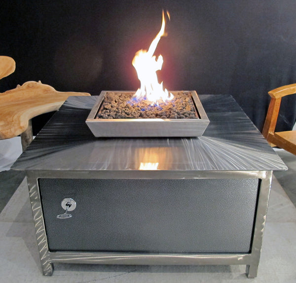 IMPACT Fire Table, heavy duty stainless steel, hand brushed, powder coated clear, square, best firepit or fire pit, burn natural gas or propane, silver vein powder coated steel side panel option, made in America