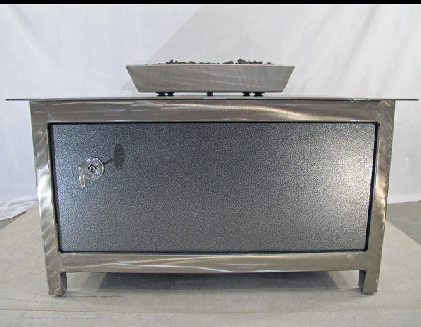 picture showing the airspace between the firebox and the table top of an IMPACT Fire Table, stainless steel, hand brushed, powder coated clear, square, best firepit or fire pit, burn natural gas or propane, silver vein powder coated steel side panel option, made in USA
