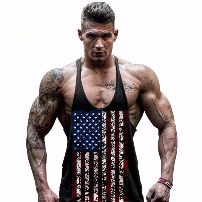 Men's Fitness Muscle Y back - American Flag