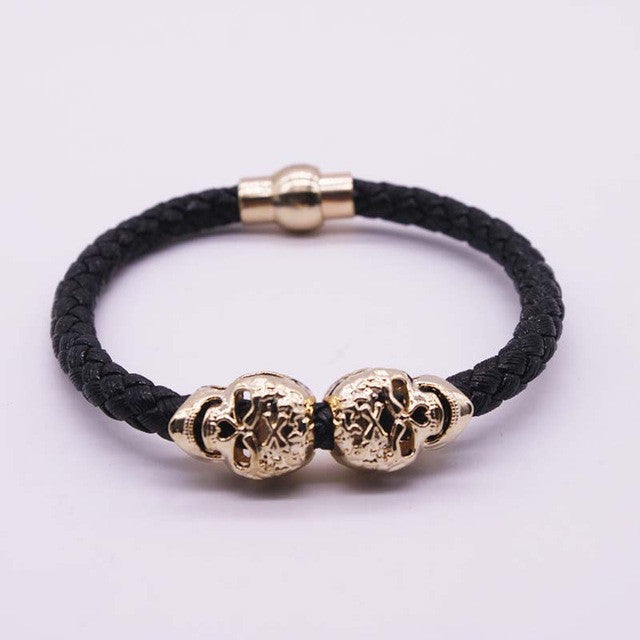 Gold Skull Leather Braided Bracelet
