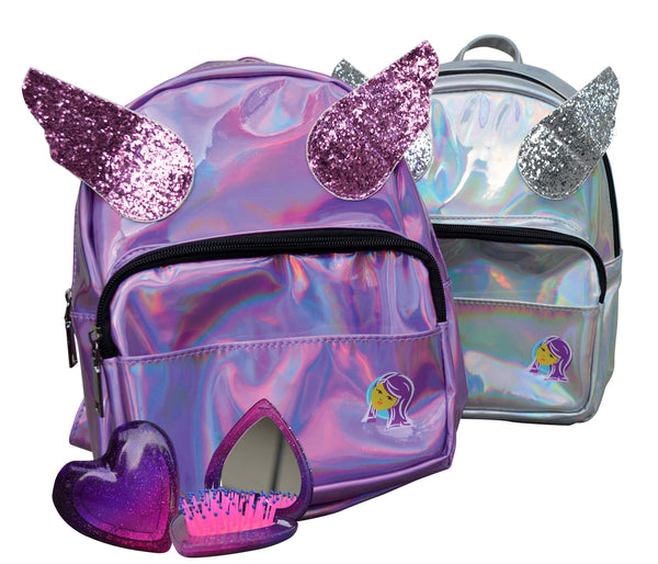 Unicorn Wing Backpack & Compact Brush