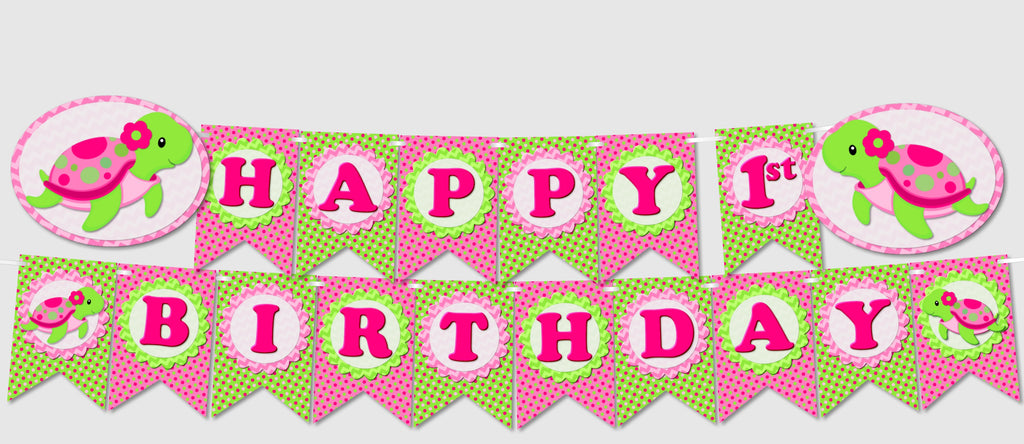 graphic relating to Happy Birthday Banner Printable Pdf referred to as Red Lady Turtle Celebration Banners - Quick Down load PDF