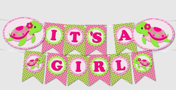 Pink Girl Turtle Party Banners - Instant Download PDF Printable File