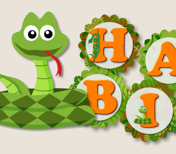 "Snake Birthday Banner Party Decoration Supplies - ""HAPPY BIRTHDAY"" - Handmade in USA"