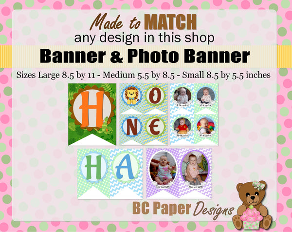 MADE to MATCH Items - Banner, Invitation, Signs, Cupcake Toppers, Favor Tags...