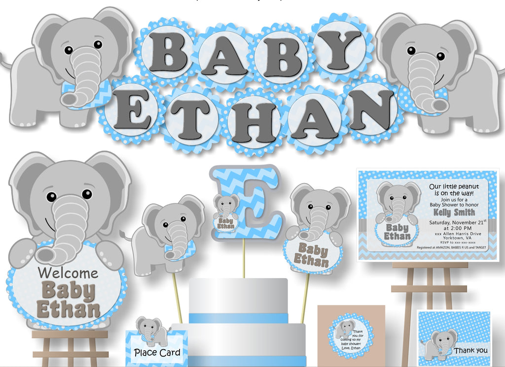 Blue Boy Elephant Baby Shower Decorations