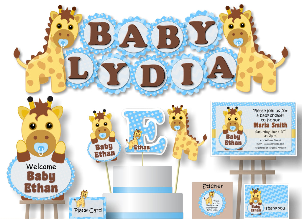 Personalized Blue Boy Giraffe Baby Shower or Birthday Party Decorations