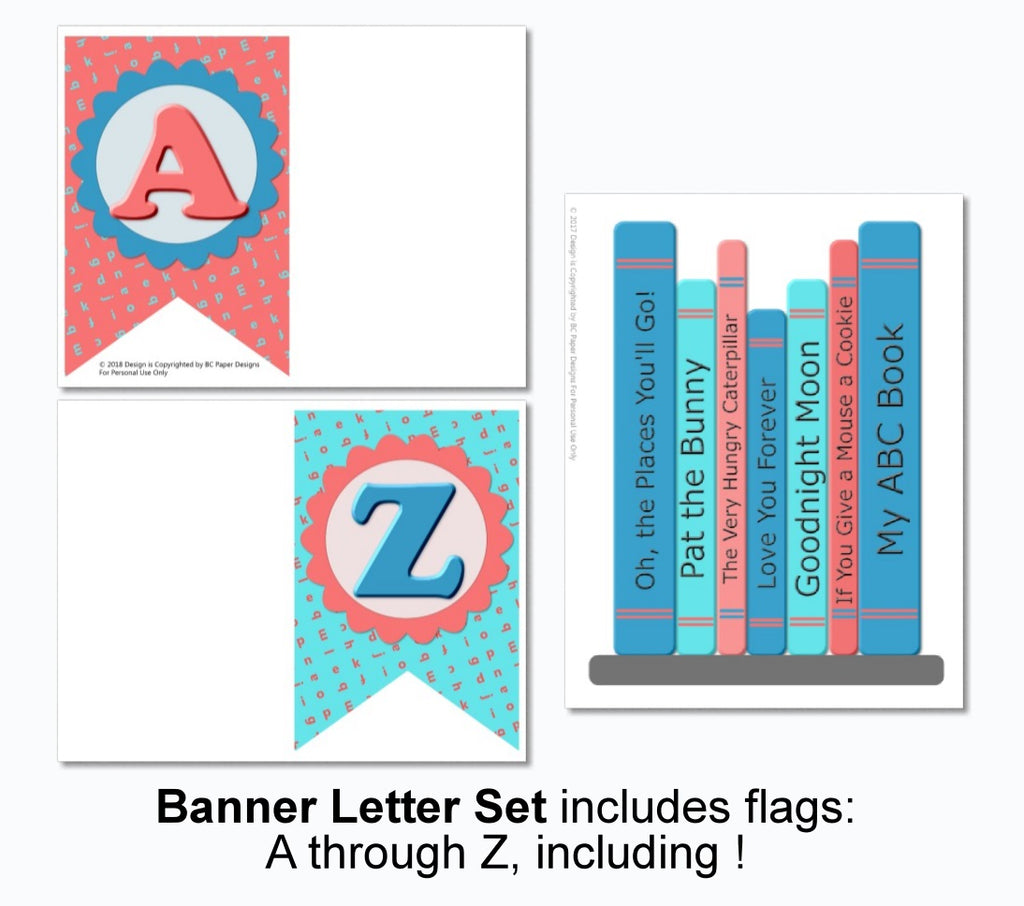 photograph about Baby Shower Banner Printable identified as Ebook Themed Boy or girl Shower Decorations - Printable Instantaneous Obtain - Banner, Centerpiece, Cupcakes, Thank By yourself, Game titles
