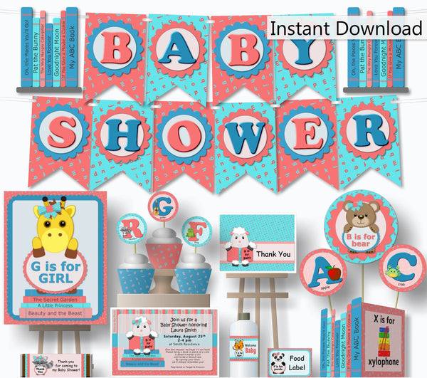 Book Themed Baby Shower Decorations - Printable Instant Download - Banner, Centerpiece, Cupcakes, Thank You, Games