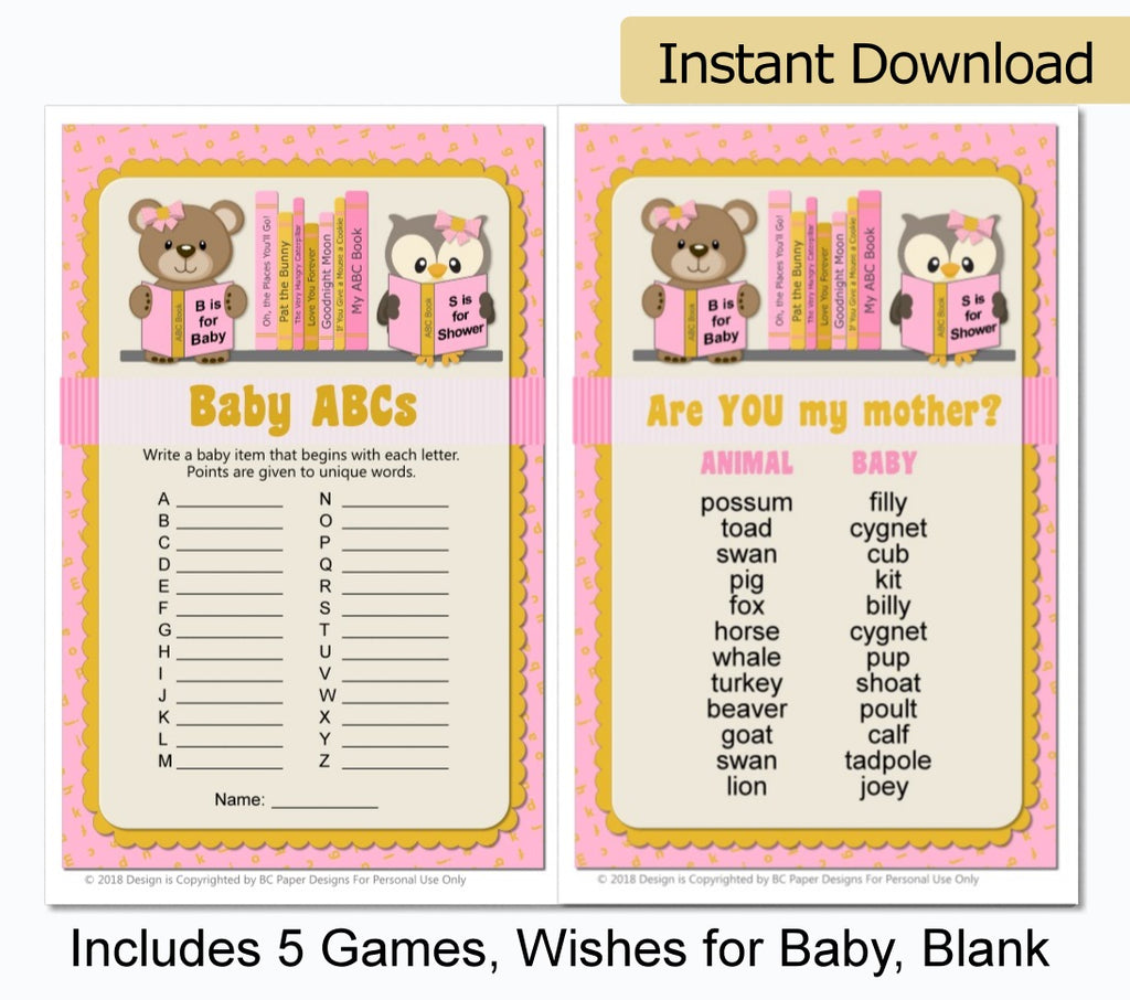 Pink Girl Book Themed Baby Shower Games - Printable Instant Download