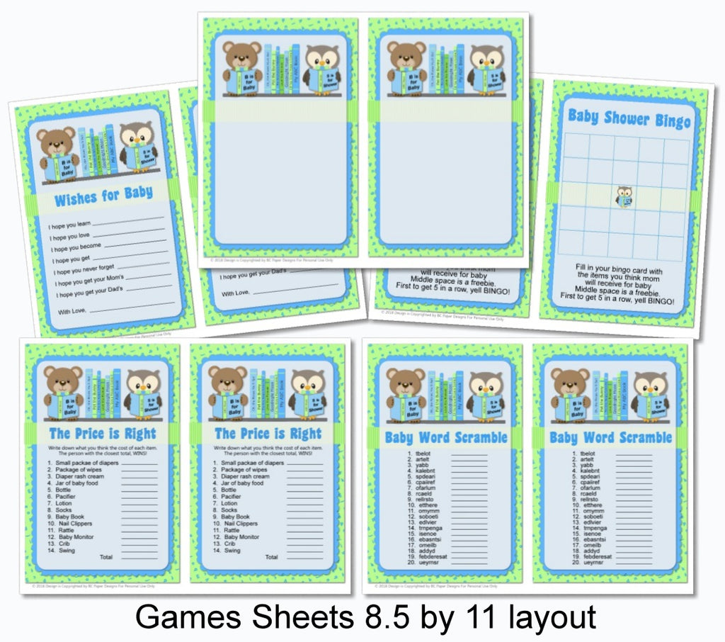 Blue Boy Book Themed Baby Shower Games Printable Instant Download
