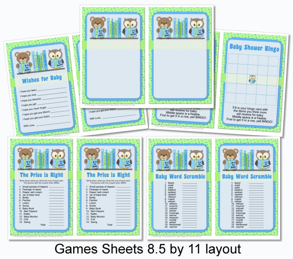 Blue Boy Book Themed Baby Shower Games - Printable Instant Download