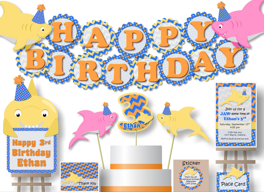 Baby Shark Birthday Party or Baby Shower Decorations