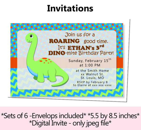 Personalized Dinosaur Birthday Party or Baby Shower Decorations