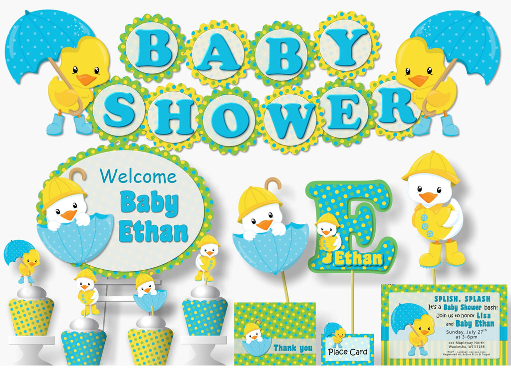 Blue Green Rubber Duck Baby Shower Or Birthday Party Decorations 10 4 Inch Scallop Banner Baby Name Or Name Is