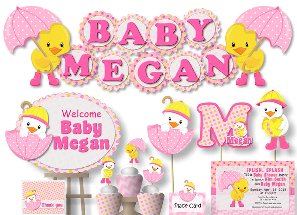 Pink Girl Rubber Duck Baby Shower or Birthday Party Decorations