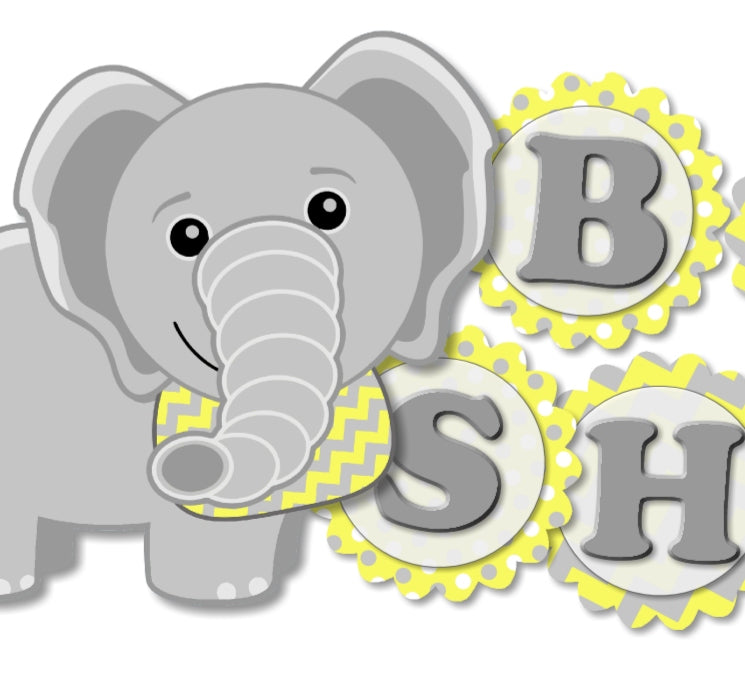 Yellow Elephant Baby Shower Banner For Gender Neutral Party