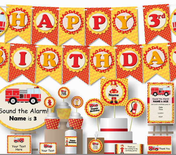 Fire Truck Birthday Decorations - Instant Download Printable Files - Banner, Centerpiece, Cupcake Toppers, Thank You Cards