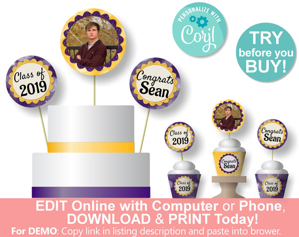 Graduation Party Centerpieces, Cake Toppers, Cupcake Toppers and Cupcake Wrappers - Personalized Digital Download