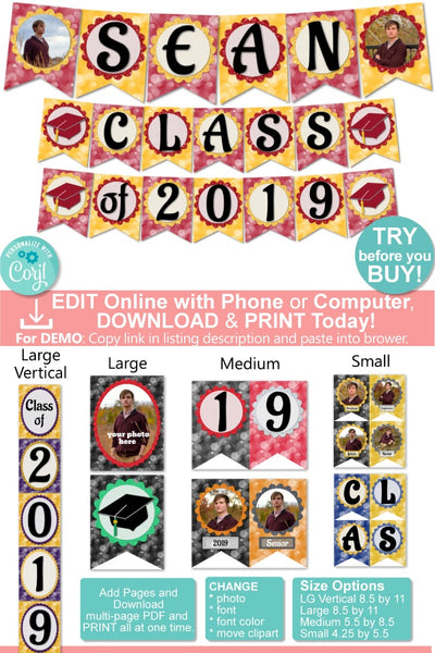Graduation Party Banner with Pictures- 8 Color Options - 4 Sizes - Digital Download - Printable Editable