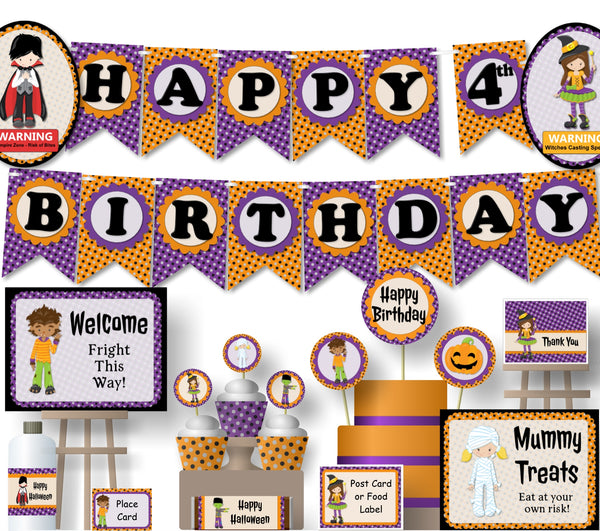 Kids Halloween Birthday Party Decorations- Instant Download Printable Files - Banner, Centerpiece, Cupcake Toppers, Thank You Cards