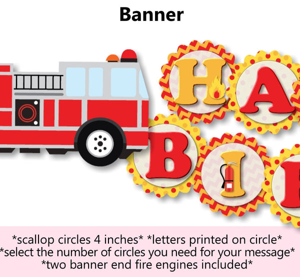 Fire Engine Birthday Party Banner
