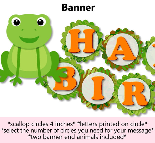 Reptile Frog Birthday Party Banner