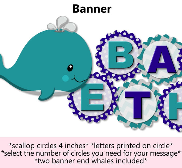 Whale Baby Shower & Birthday Banner