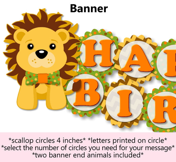 Jungle Safari Birthday Party or Baby Shower Banner
