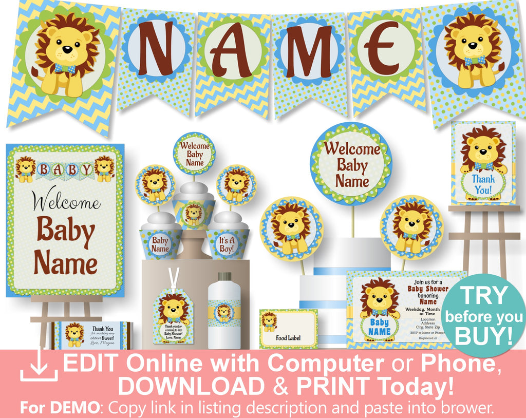 Blue Boy Lion King Baby Shower Decorations - Printable Instant Download