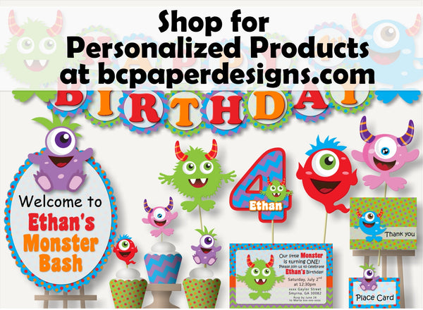 "Monster Birthday Banner Party Decoration Supplies - ""HAPPY BIRTHDAY"" - Handmade in USA"