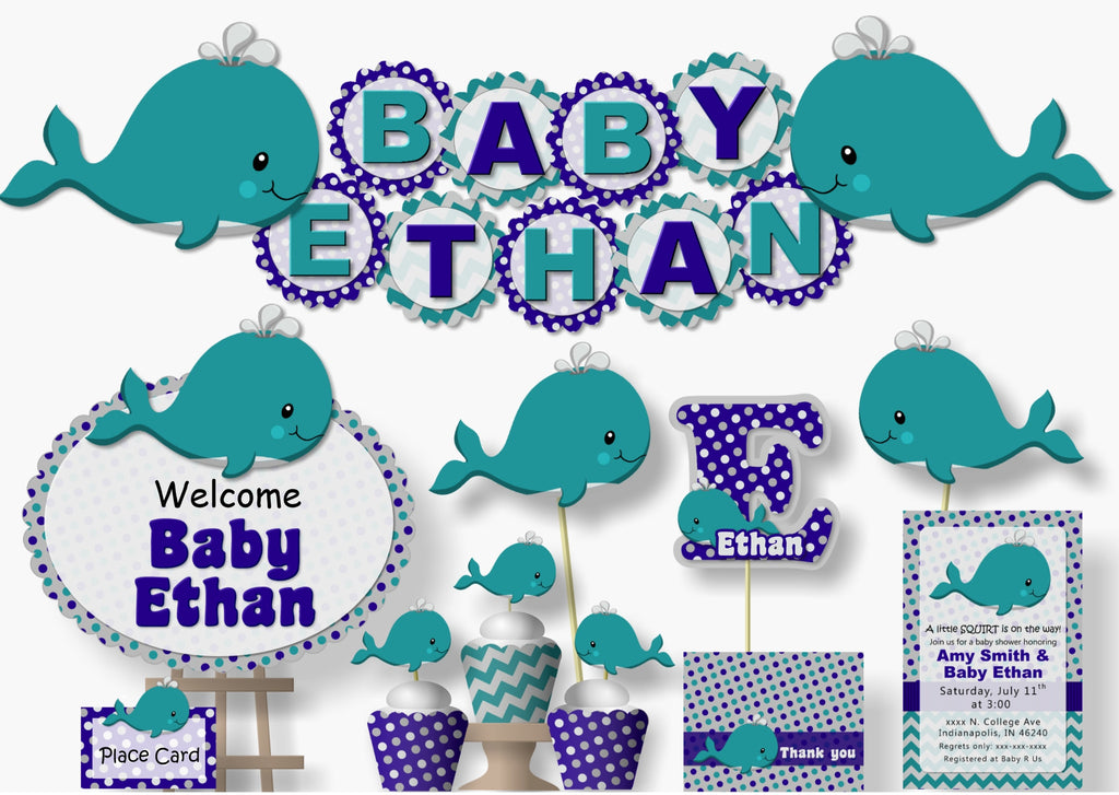Whale Baby Shower Birthday Decorations