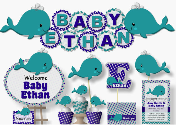 Whale Baby Shower & Birthday Decorations