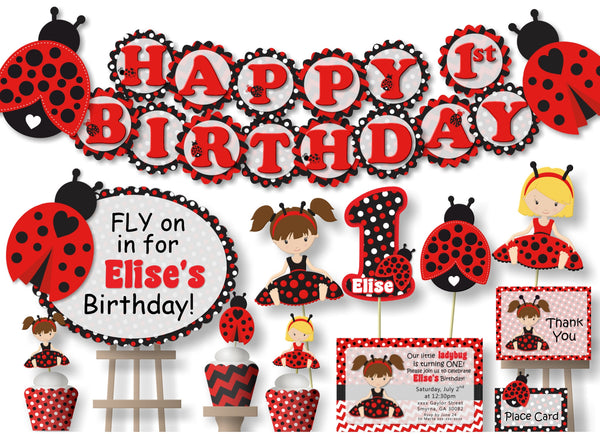 Ladybug Birthday Party or Baby Shower Decorations