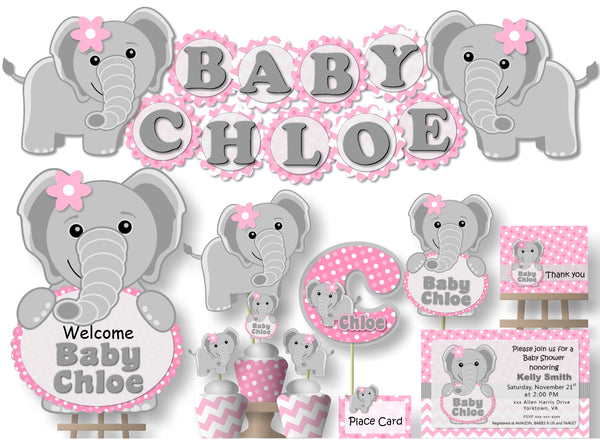 Pink Elephant Baby Shower Decorations - Pink and Grey