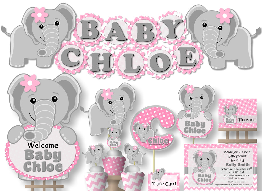 Pink Elephant Baby Shower or Birthday Party Decorations