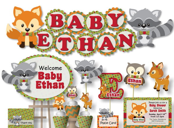 Woodland Baby Shower or Birthday Party Decorations