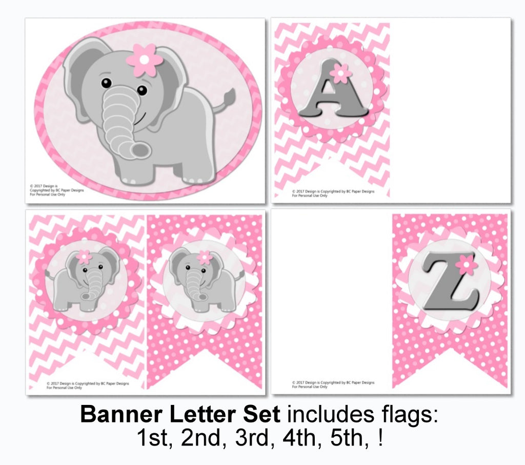 Pdf Elephant Baby Shower Or Birthday Decorations Printable