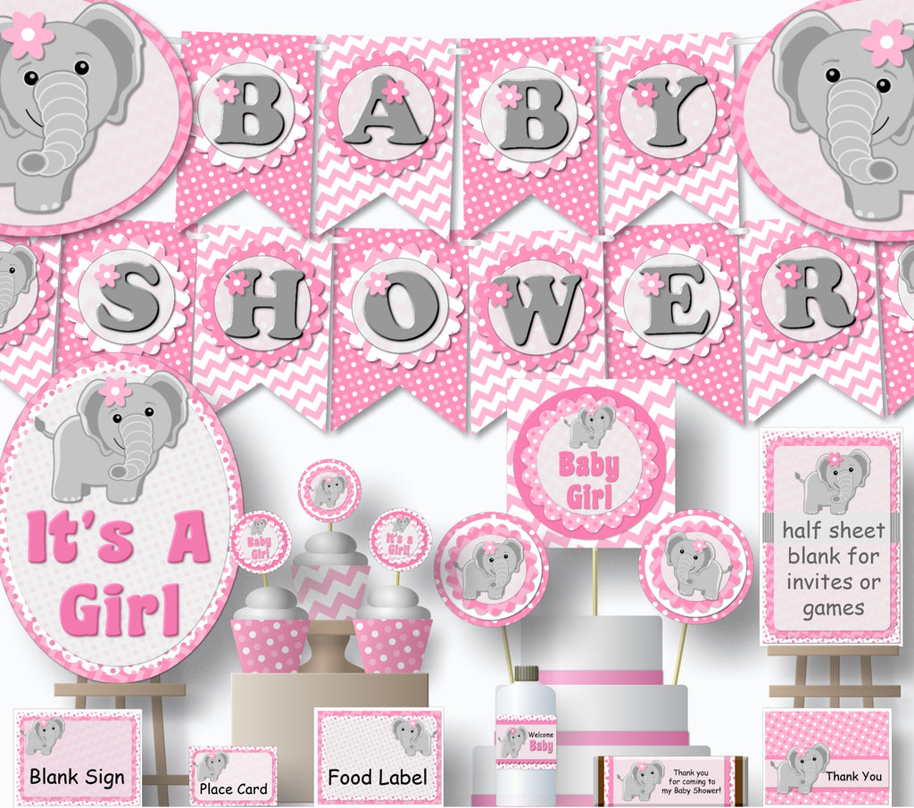 image about Baby Shower Banner Printable called PDF Elephant Child Shower or Birthday Decorations - Banner, Invites, Cake Topper, Centerpiece, Cupcakes - do-it-yourself, printable
