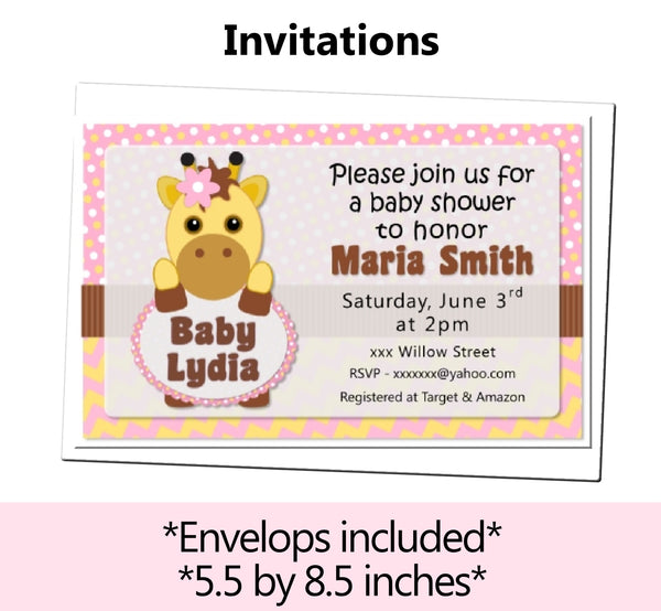 Pink Gold Giraffe Baby Shower or Birthday Party Decorations