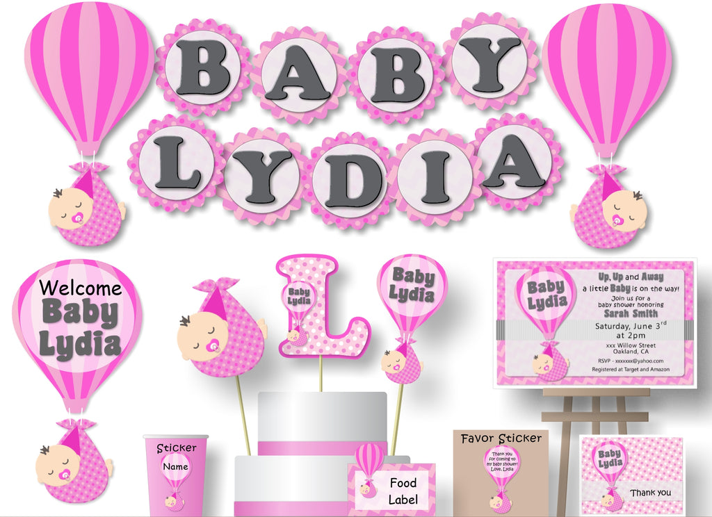 Pink Hot Air Balloon Baby Shower Decorations