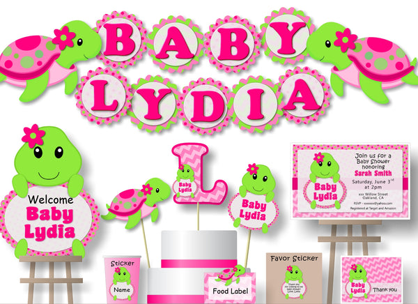 Pink Turtle Baby Shower or Birthday Party Decorations