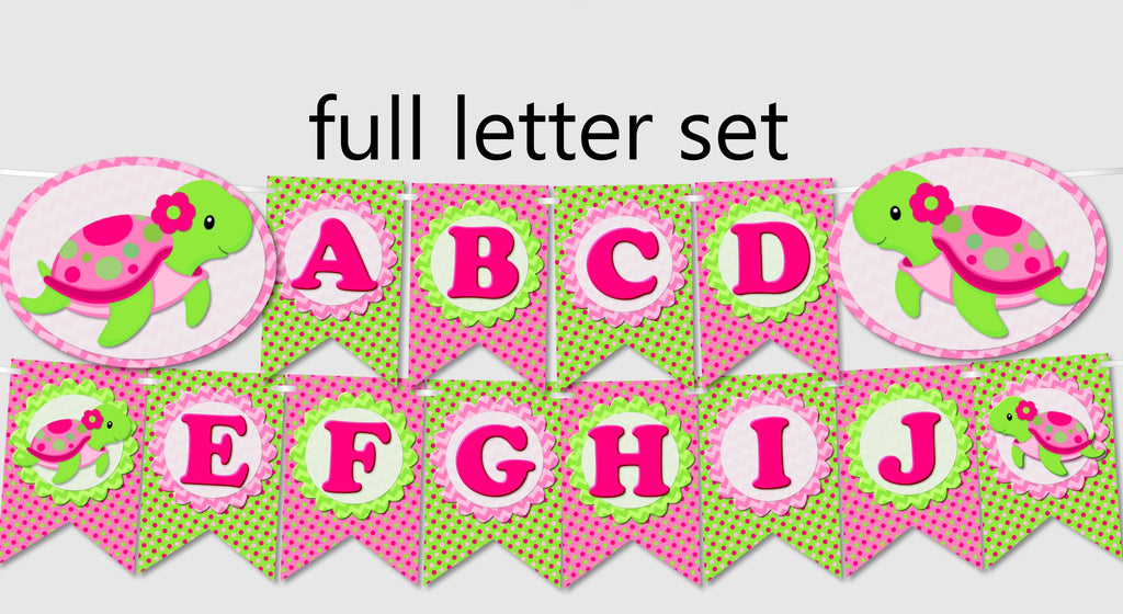pink girl turtle party banners instant download pdf printable file