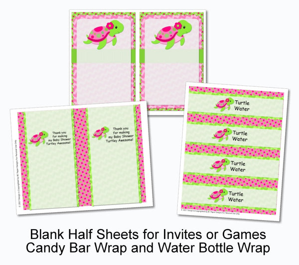 Pink Girl Turtle Party Decorations - Instant Download Printable Files - Banner, Centerpiece, Cupcake Toppers, Thank You Cards
