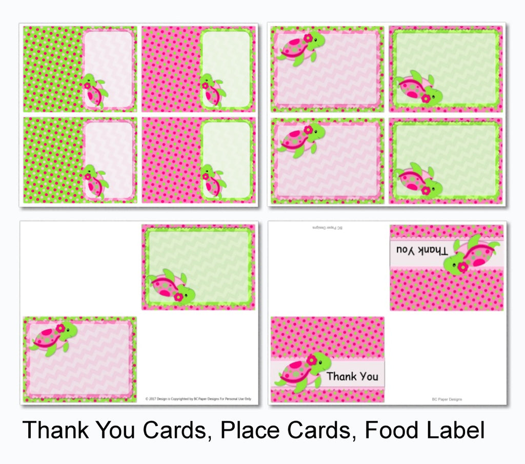 photograph relating to Thank You Banner Printable known as Crimson Lady Turtle Celebration Decorations - Prompt Down load Printable Information - Banner, Centerpiece, Cupcake Toppers, Thank Oneself Playing cards