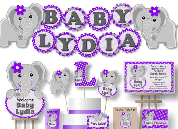 Purple Elephant Baby Shower or Birthday Party Decorations