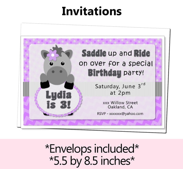 Purple Little Pony Horse Birthday Party or Baby Shower Decorations