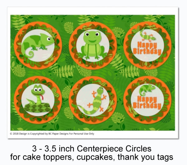 Reptile Birthday Decorations - Instant Download Printable Files - Banner, Centerpiece, Cupcake Toppers, Thank You Cards